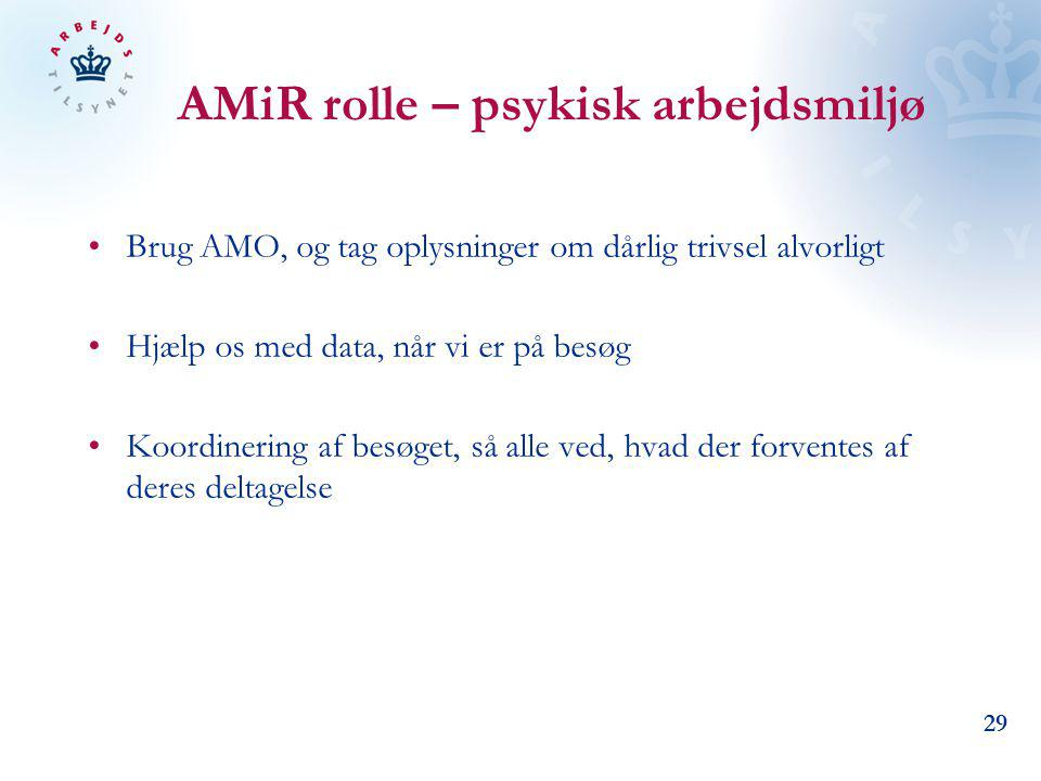 AMiR rolle – psykisk arbejdsmiljø