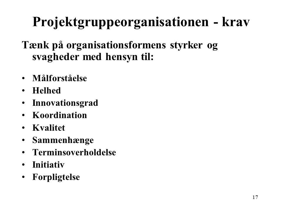 Projektgruppeorganisationen - krav