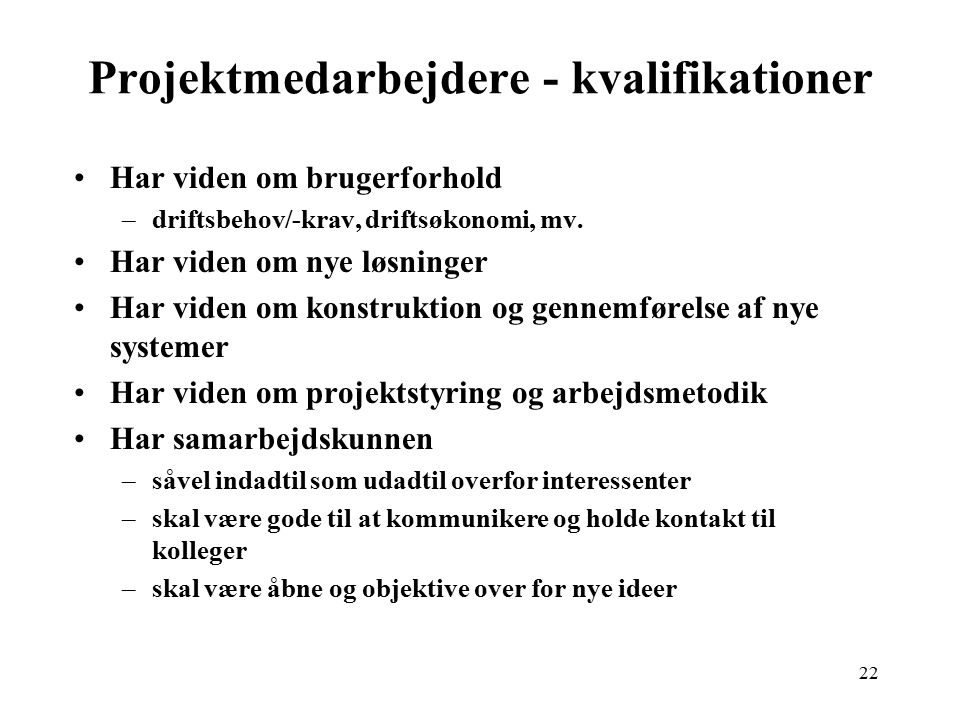 Projektmedarbejdere - kvalifikationer