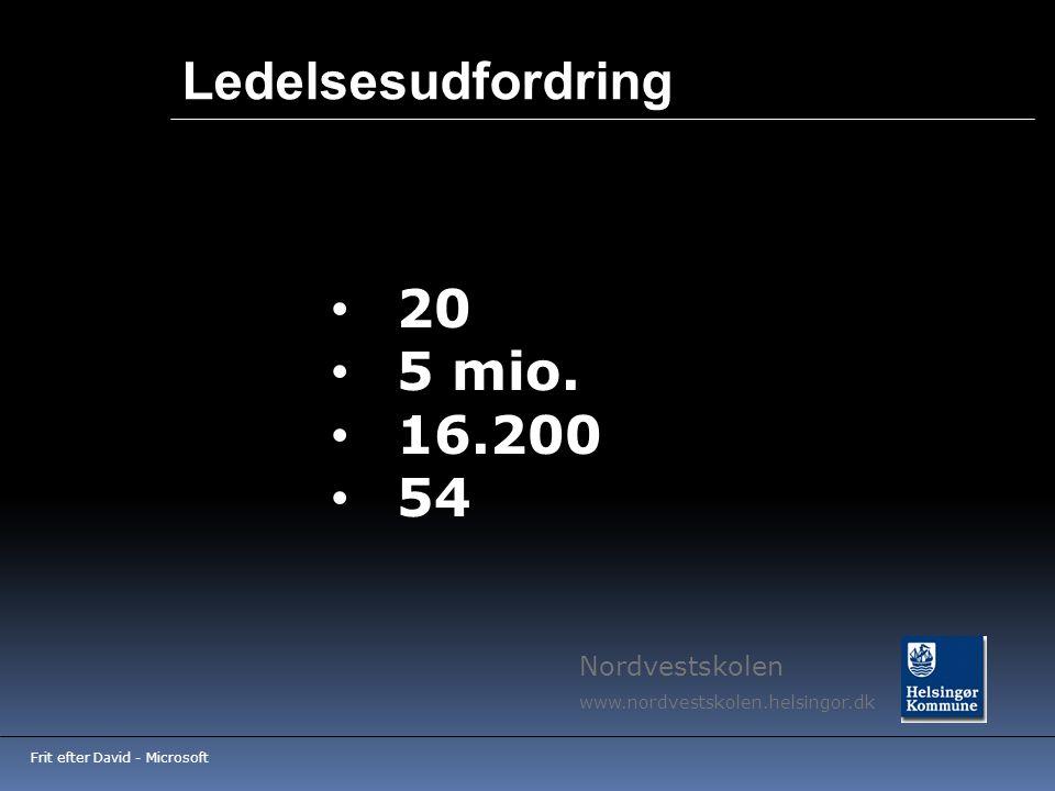 Ledelsesudfordring 20 5 mio. 16.200 54 Nordvestskolen