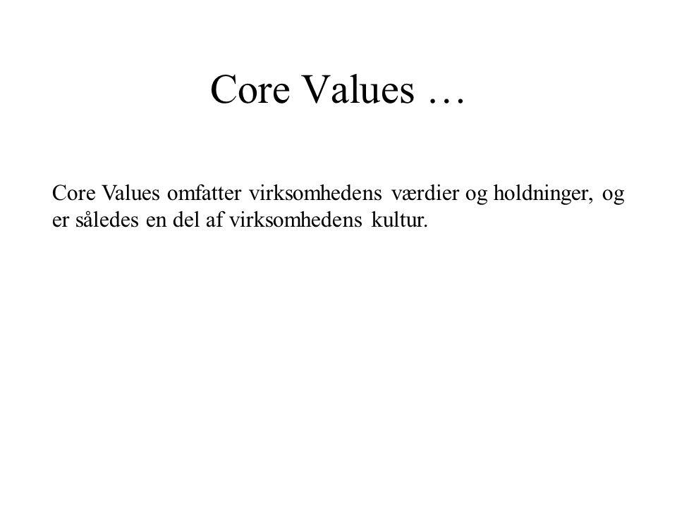 Core Values … Core Values omfatter virksomhedens værdier og holdninger, og er således en del af virksomhedens kultur.