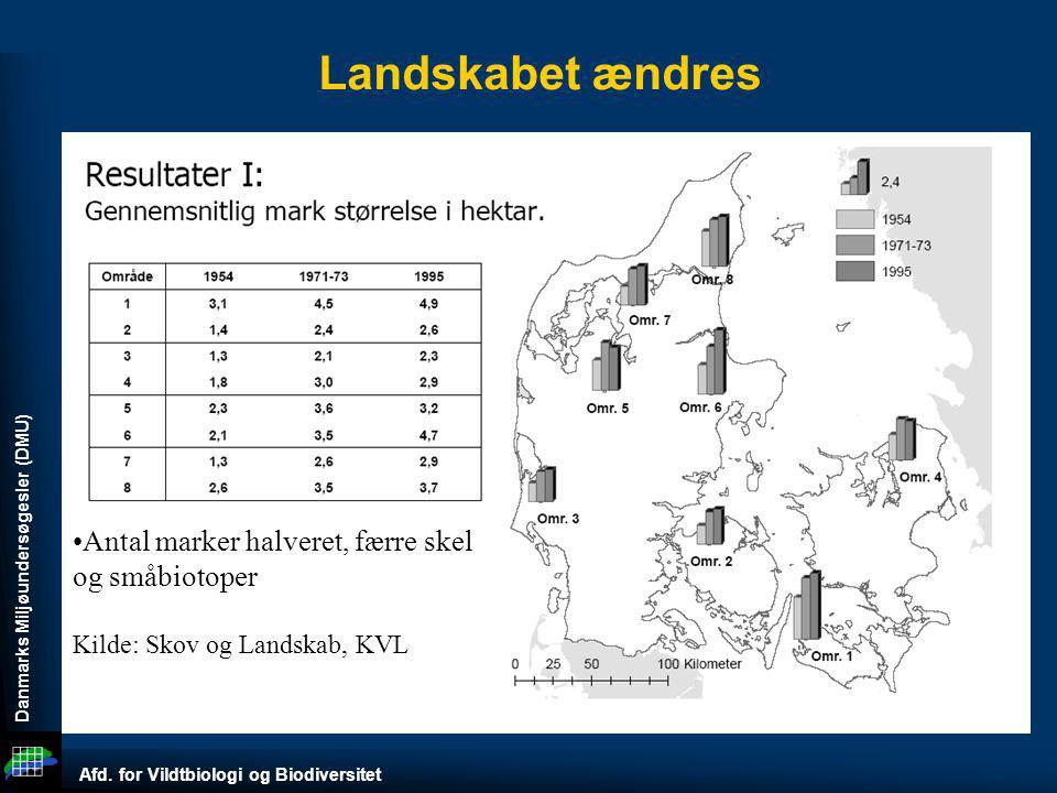 Landskabet ændres Antal marker halveret, færre skel og småbiotoper