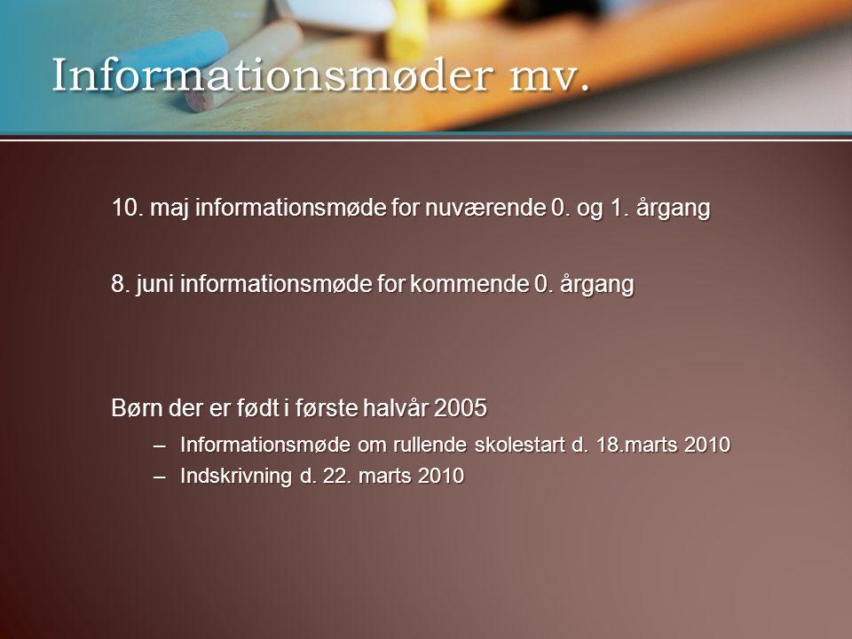 Informationsmøder mv. 10. maj informationsmøde for nuværende 0. og 1. årgang. 8. juni informationsmøde for kommende 0. årgang.