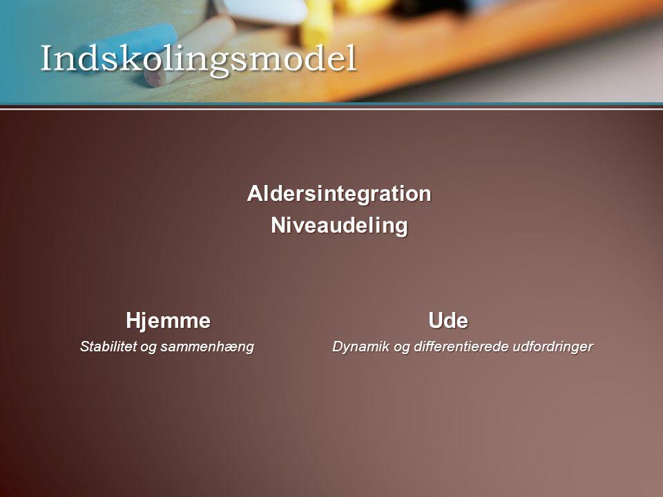Indskolingsmodel Aldersintegration Niveaudeling Hjemme Ude