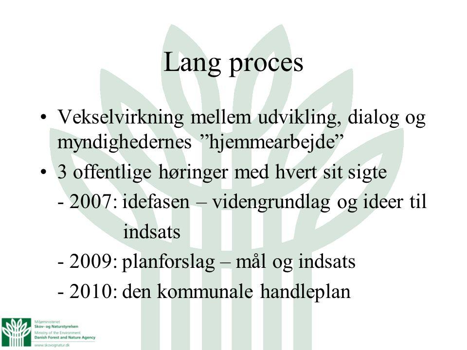 Lang proces Vekselvirkning mellem udvikling, dialog og myndighedernes hjemmearbejde 3 offentlige høringer med hvert sit sigte.