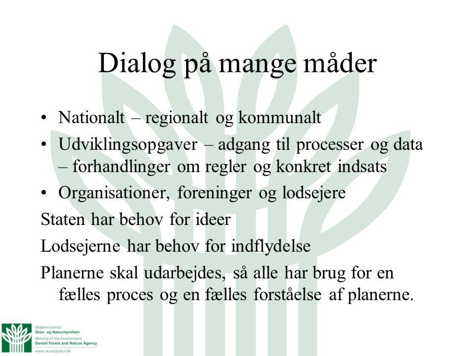 Dialog på mange måder Nationalt – regionalt og kommunalt