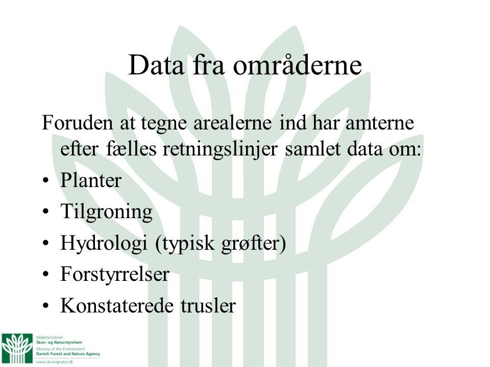 Data fra områderne Foruden at tegne arealerne ind har amterne efter fælles retningslinjer samlet data om: