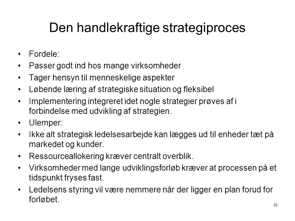 Den handlekraftige strategiproces