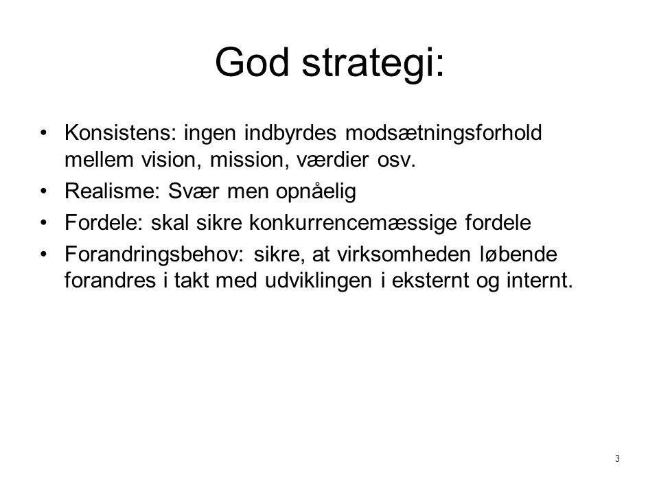 God strategi: Konsistens: ingen indbyrdes modsætningsforhold mellem vision, mission, værdier osv. Realisme: Svær men opnåelig.