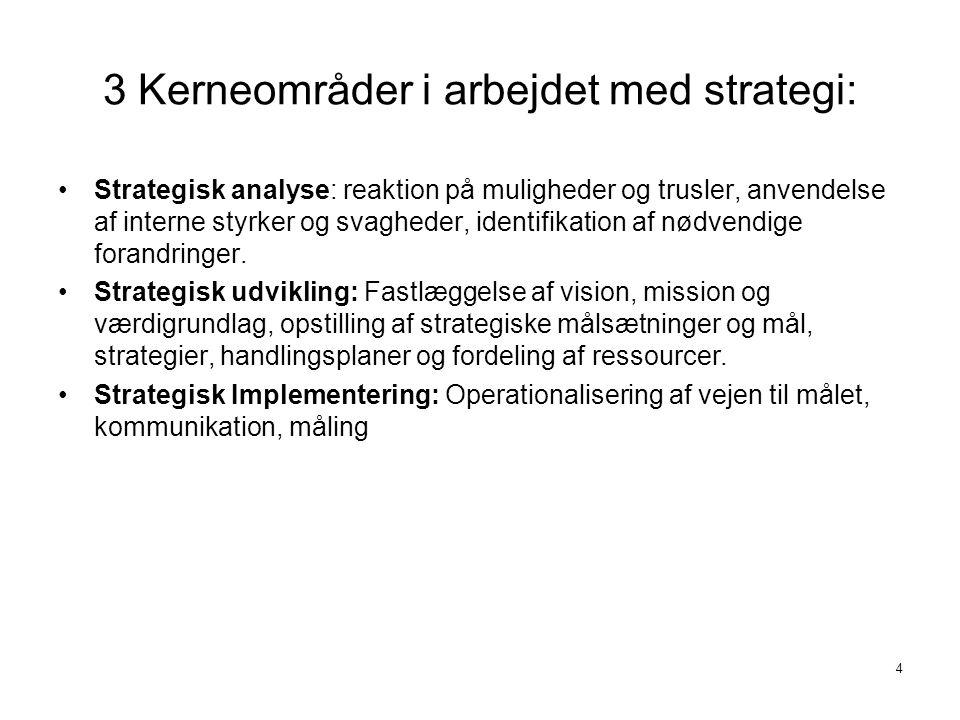 3 Kerneområder i arbejdet med strategi: