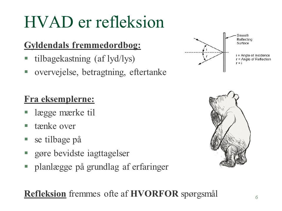 HVAD er refleksion Gyldendals fremmedordbog: