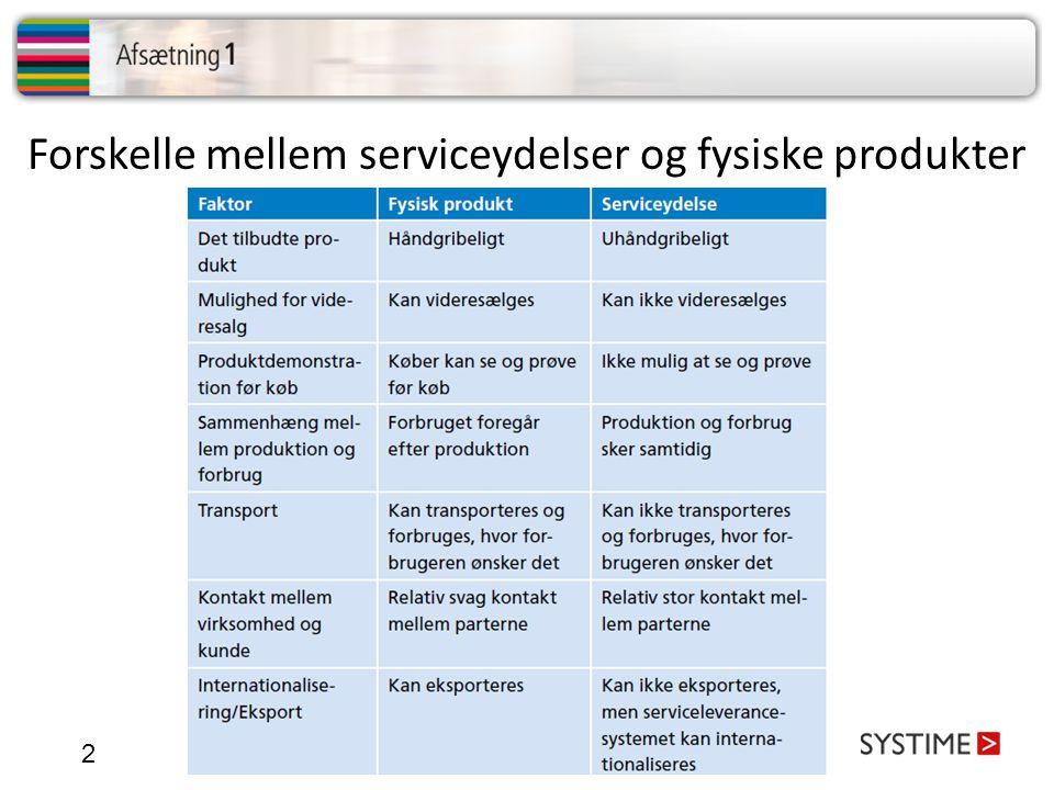 Forskelle mellem serviceydelser og fysiske produkter
