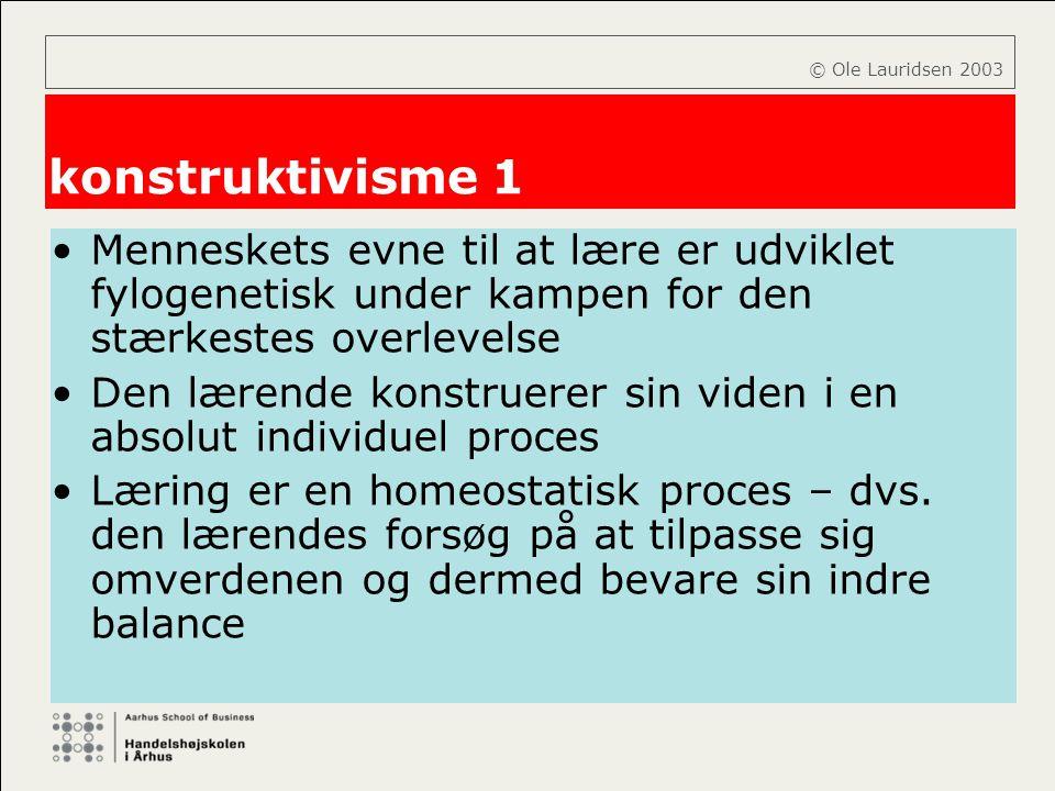 © Ole Lauridsen 2003 konstruktivisme 1. Menneskets evne til at lære er udviklet fylogenetisk under kampen for den stærkestes overlevelse.