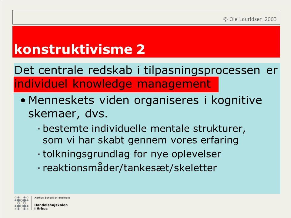 © Ole Lauridsen 2003 konstruktivisme 2. Det centrale redskab i tilpasningsprocessen er individuel knowledge management.