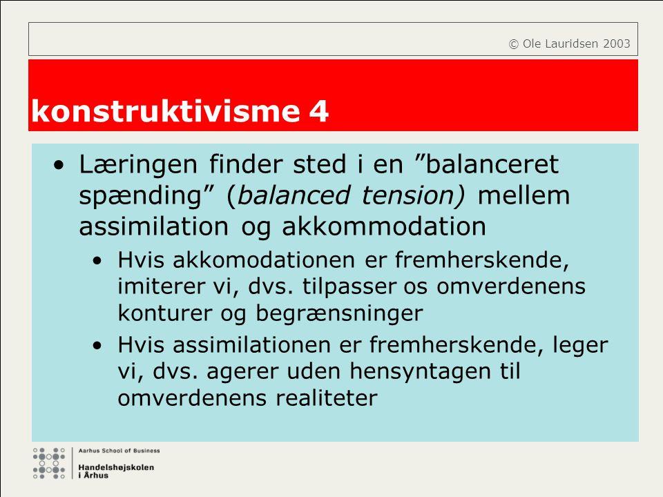 © Ole Lauridsen 2003 konstruktivisme 4. Læringen finder sted i en balanceret spænding (balanced tension) mellem assimilation og akkommodation.