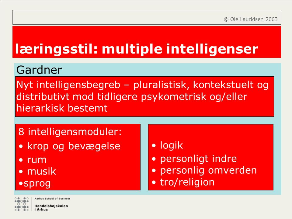 læringsstil: multiple intelligenser