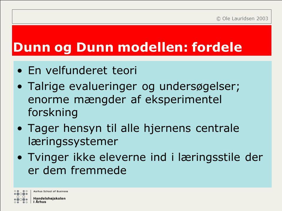Dunn og Dunn modellen: fordele