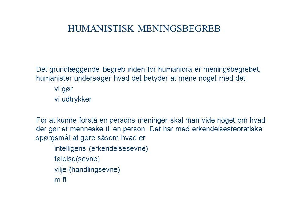 HUMANISTISK MENINGSBEGREB