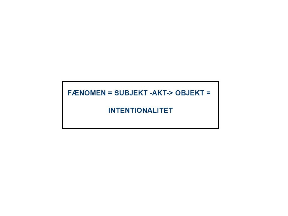 FÆNOMEN = SUBJEKT -AKT-> OBJEKT =