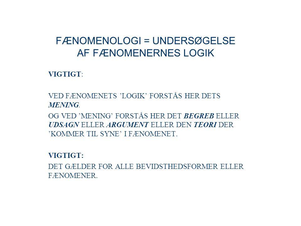 FÆNOMENOLOGI = UNDERSØGELSE AF FÆNOMENERNES LOGIK