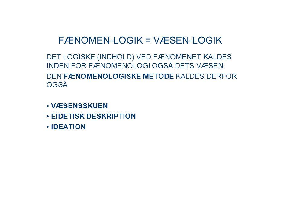 FÆNOMEN-LOGIK = VÆSEN-LOGIK