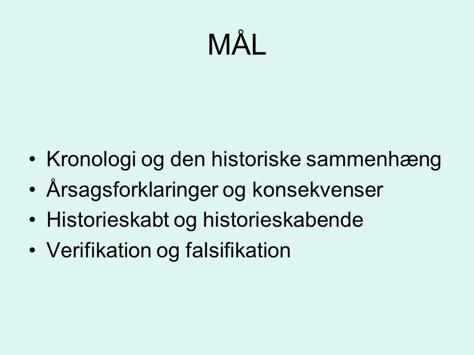 MÅL Kronologi og den historiske sammenhæng