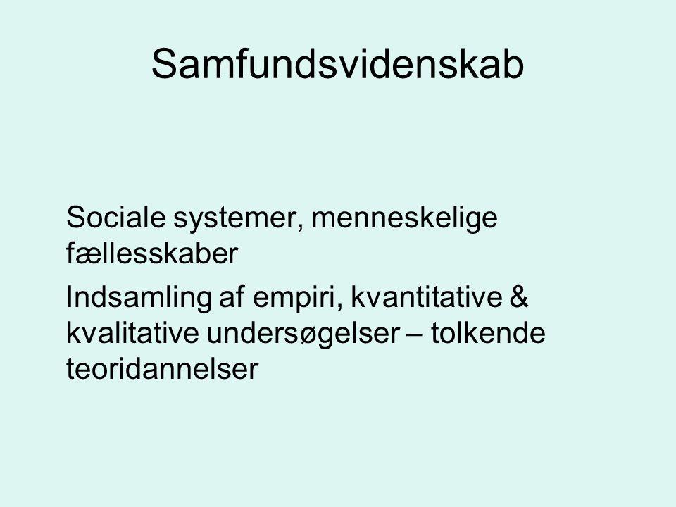 Samfundsvidenskab Sociale systemer, menneskelige fællesskaber.