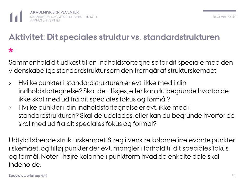 Aktivitet: Dit speciales struktur vs. standardstrukturen