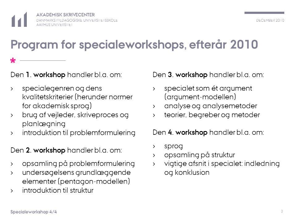 Program for specialeworkshops, efterår 2010