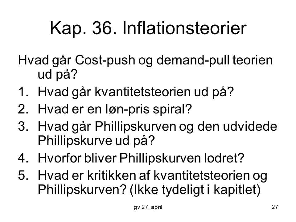 Kap. 36. Inflationsteorier