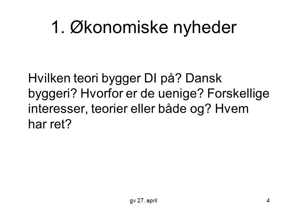 1. Økonomiske nyheder Hvilken teori bygger DI på Dansk byggeri Hvorfor er de uenige Forskellige interesser, teorier eller både og Hvem har ret