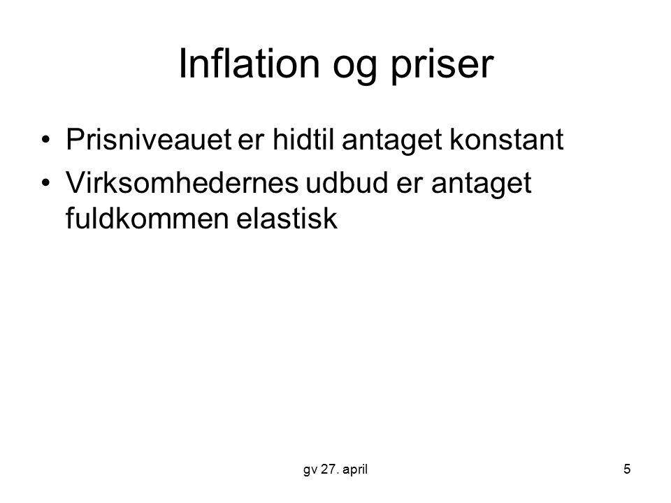 Inflation og priser Prisniveauet er hidtil antaget konstant