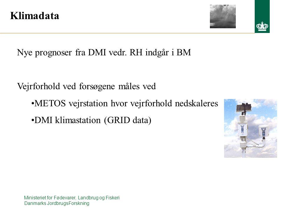 Klimadata Nye prognoser fra DMI vedr. RH indgår i BM