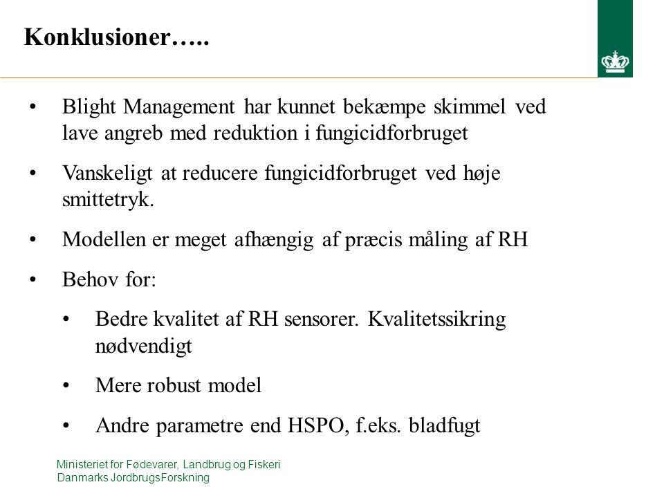 Konklusioner….. Blight Management har kunnet bekæmpe skimmel ved lave angreb med reduktion i fungicidforbruget.