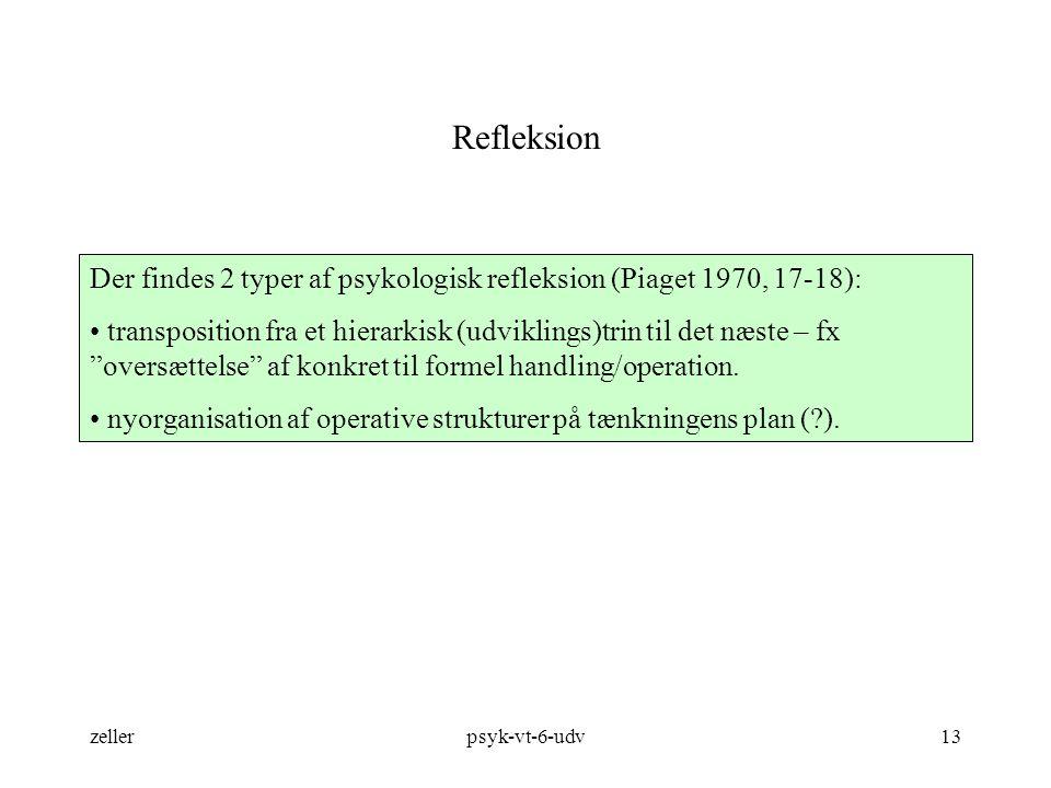Refleksion Der findes 2 typer af psykologisk refleksion (Piaget 1970, 17-18):