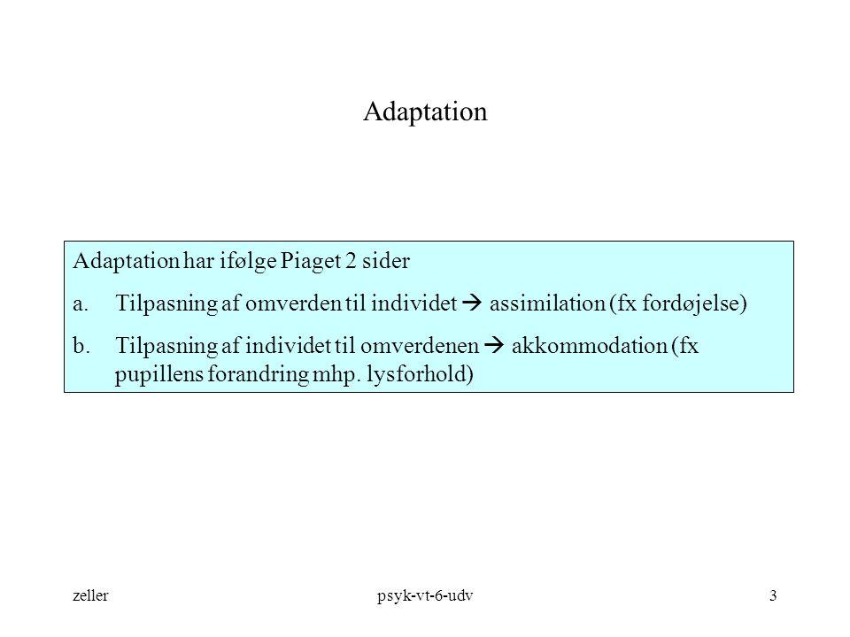 Adaptation Adaptation har ifølge Piaget 2 sider