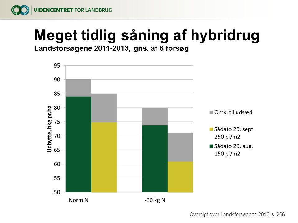 8. april 2017 Meget tidlig såning af hybridrug Landsforsøgene 2011-2013, gns.