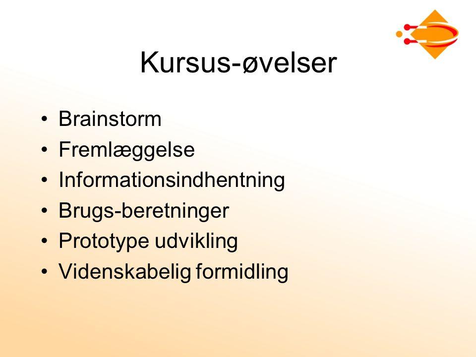 Kursus-øvelser Brainstorm Fremlæggelse Informationsindhentning