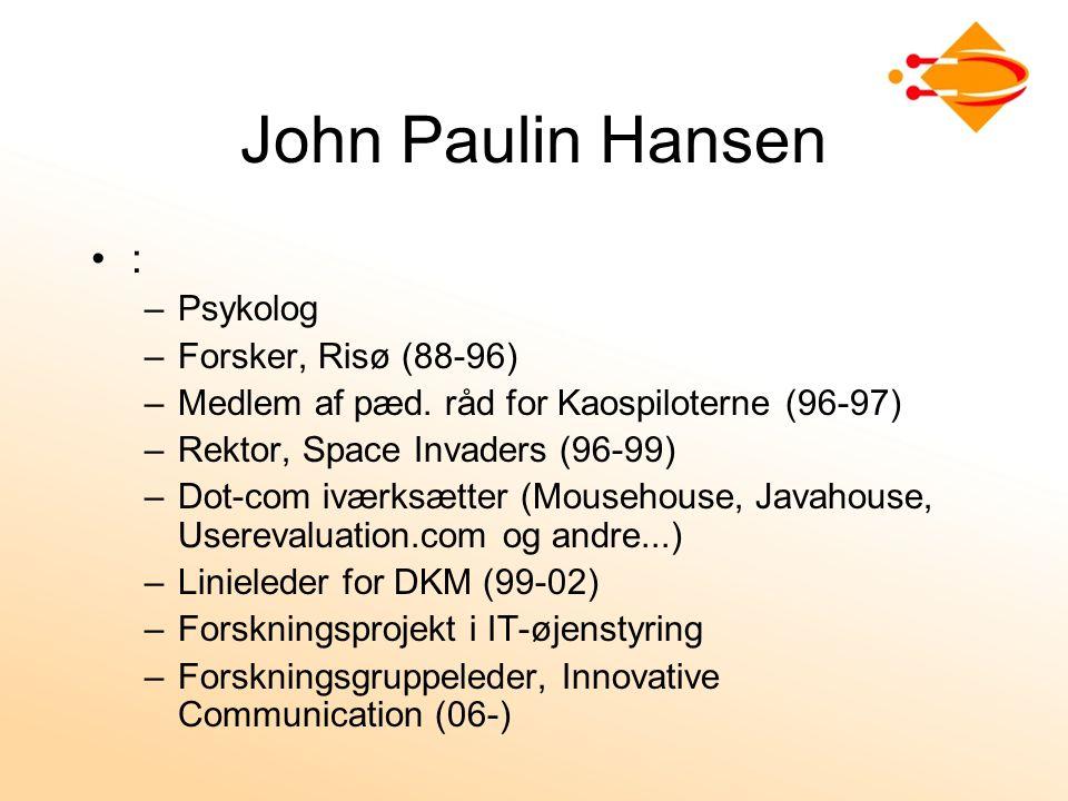 John Paulin Hansen : Psykolog Forsker, Risø (88-96)