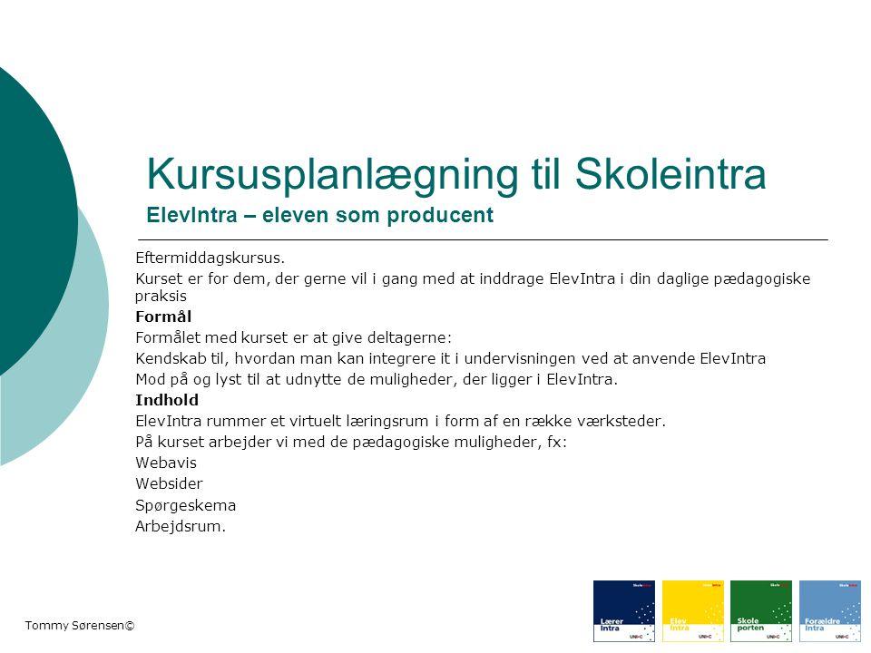 Kursusplanlægning til Skoleintra ElevIntra – eleven som producent
