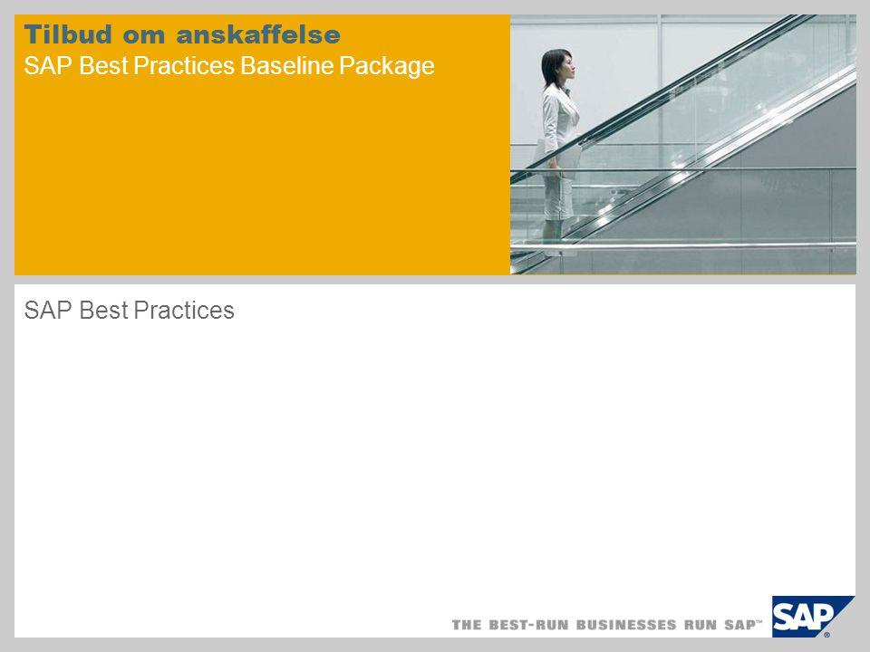 Tilbud om anskaffelse SAP Best Practices Baseline Package