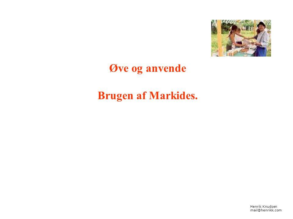 Øve og anvende Brugen af Markides. Henrik Knudsen mail@henrikk.com