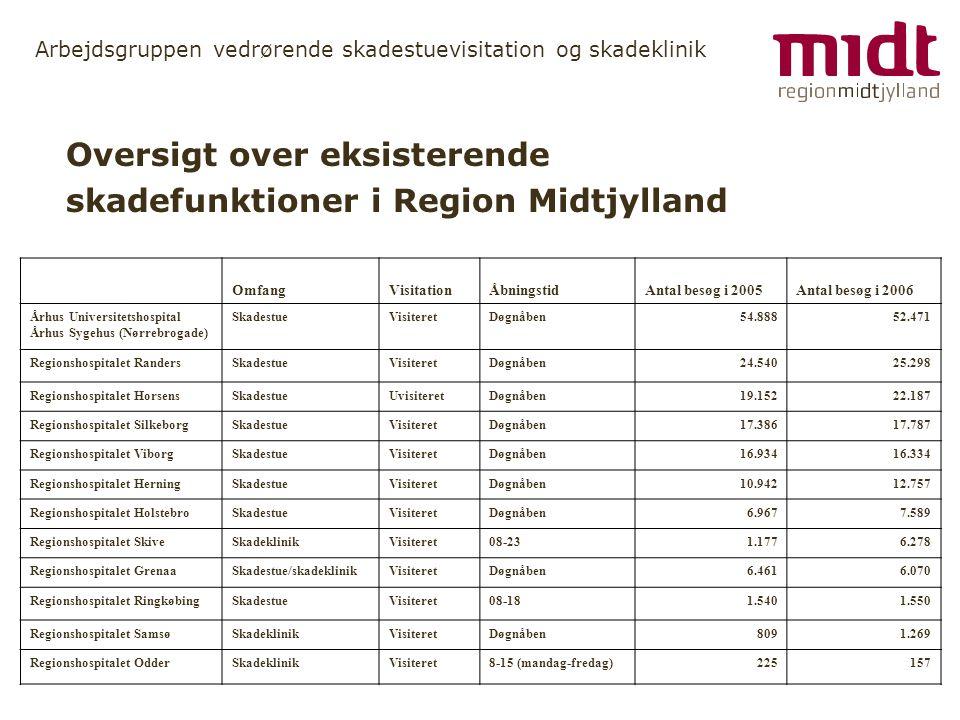 Oversigt over eksisterende skadefunktioner i Region Midtjylland