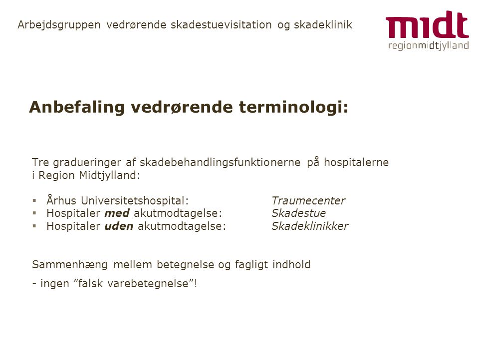Anbefaling vedrørende terminologi: