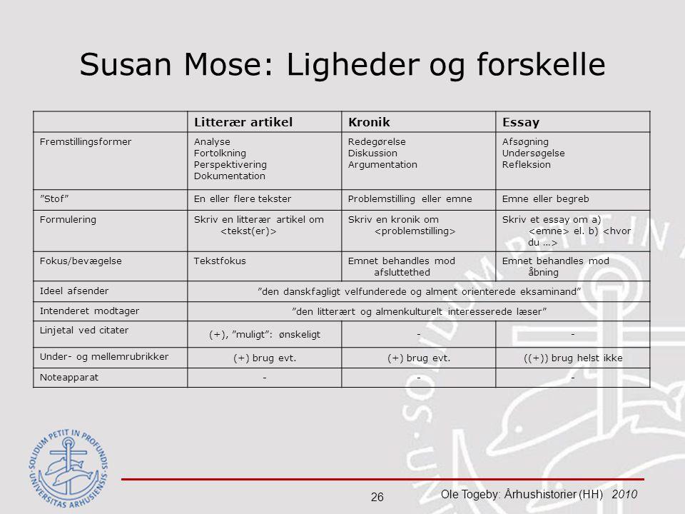 Susan Mose: Ligheder og forskelle