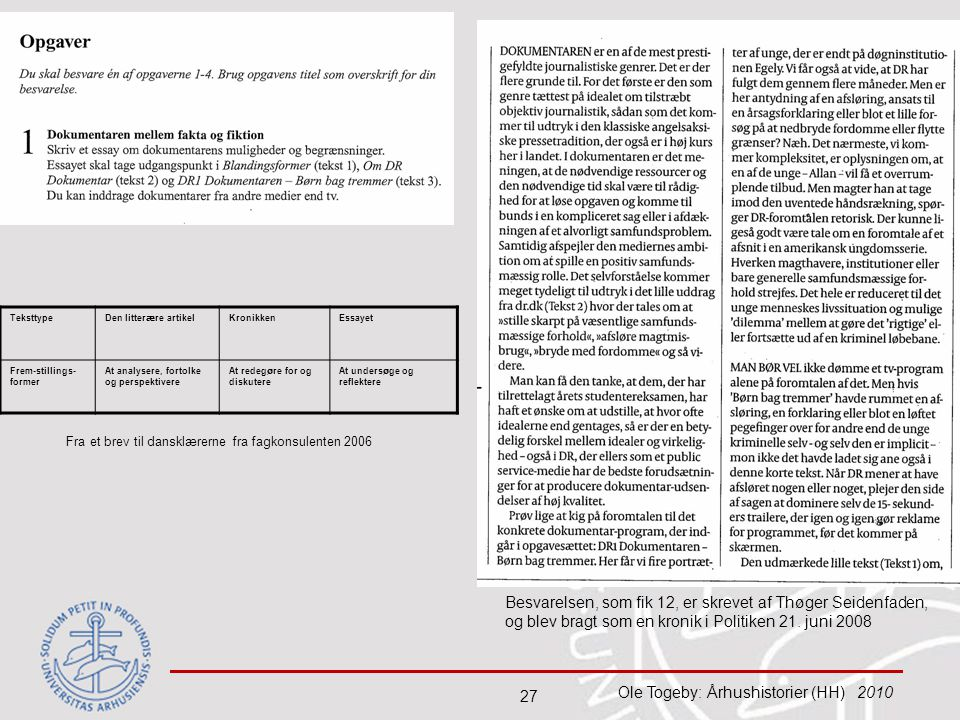 Teksttype Den litterære artikel. Kronikken. Essayet. Frem-stillings-former. At analysere, fortolke og perspektivere.