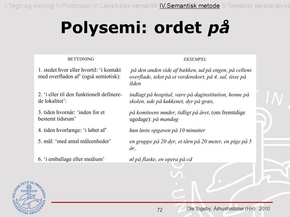 I. Tegn og mening II. Prototyper III. Leksikalsk semantik IV