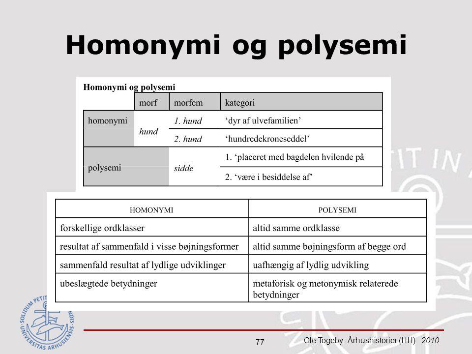 Homonymi og polysemi