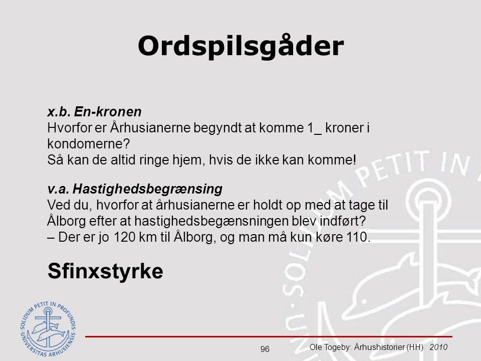 Ordspilsgåder Sfinxstyrke x.b. En-kronen
