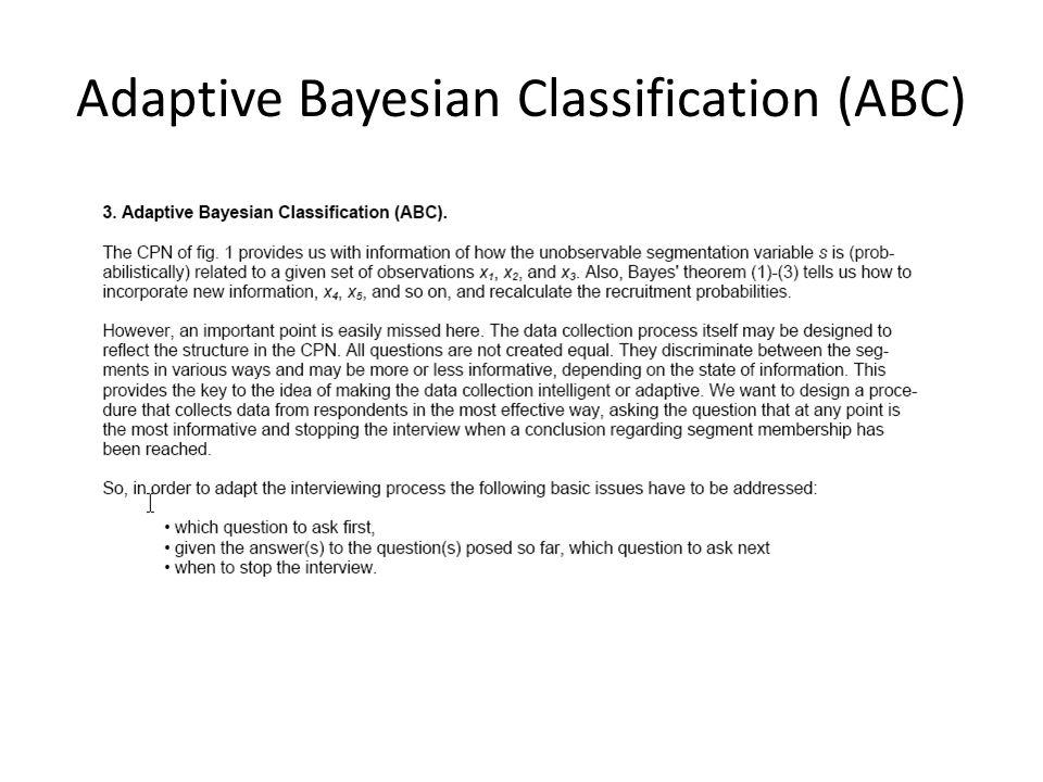 Adaptive Bayesian Classification (ABC)